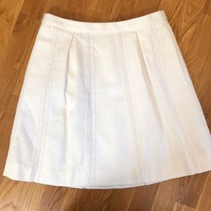 J Crew Skirt with Lace Stripe - White Size 0